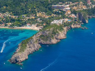 Aerial view of The bay of Paleokastritsa in Corfu