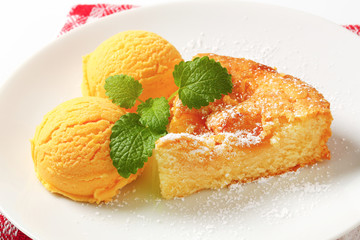 Danish apple cake and ice cream