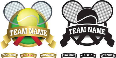 Badge, symbol or icon on white for tennis