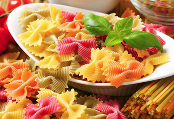 Colored bow tie pasta