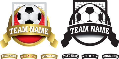 Badge, symbol or icon on white for soccer or football