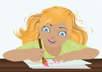 Little  lovely girl drawing sun, vector illustration