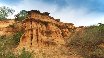"gongoni, ""grand canyon"" of west bengal, gorge of red soil, India"