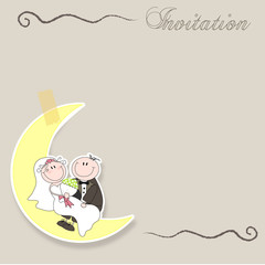 wedding card with cartoon groom and bride on their honeymoon