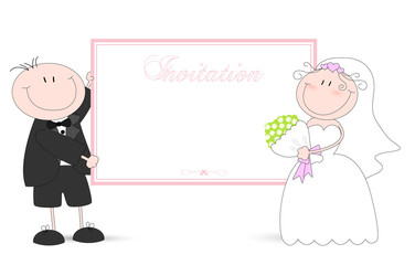 wedding card with cartoon groom and bride