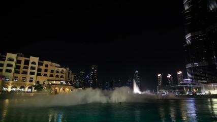 Dubai Cityscape Time Lapse Fountain