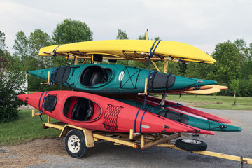 Coloful Kayaks and Trailer
