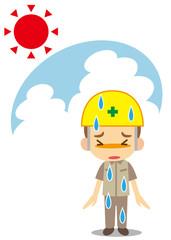 汗ダラダラ 黄色いヘルメットをかぶった作業員