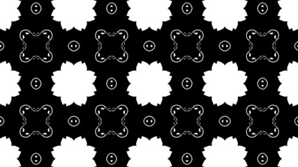Black and white looping video clip of a floral kaleidoscope.