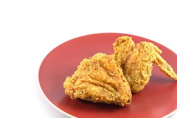 Fried chicken on white background