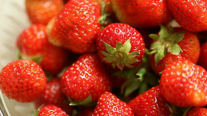 Strawberries in the bowl. Full HD with motorized slider. 1080p.