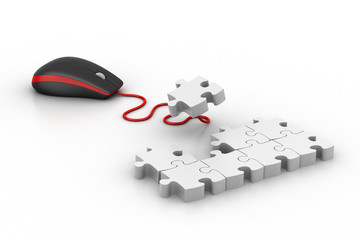 Computer mouse with puzzles