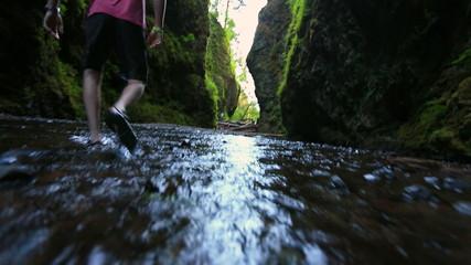 Glide Cam Male Walking Through Creek