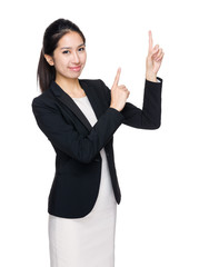 Business woman with two finger point up