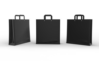 Black glossy paper bag isolated on white with clipping path