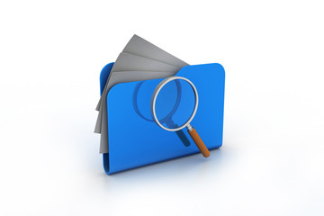 Magnifying glass over the folders