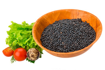 Black raw lentils