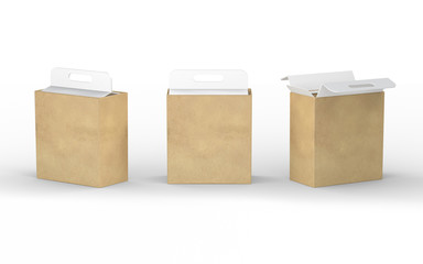 White cardboard and brown paper box packaging with handle, clipp