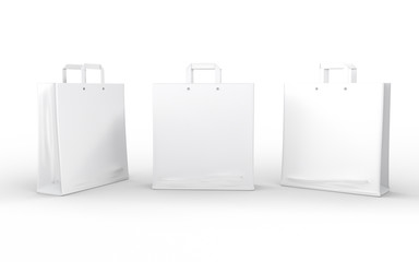 White glossy paper bag isolated on white with clipping path