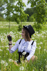 Steampunk woman on nature
