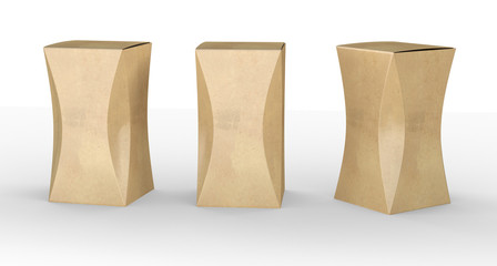 brown paper box package with curve, clipping path included