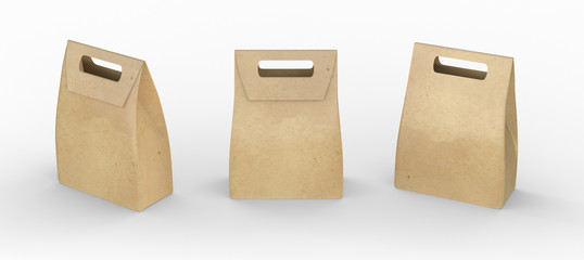 Brown paper bag folded  package with handle, clipping path inclu