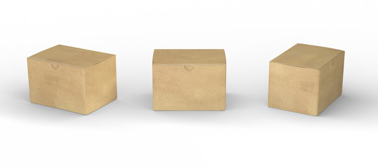 Brown paper box packaging with clipping path