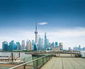 shanghai skyline and a sightseeing platform