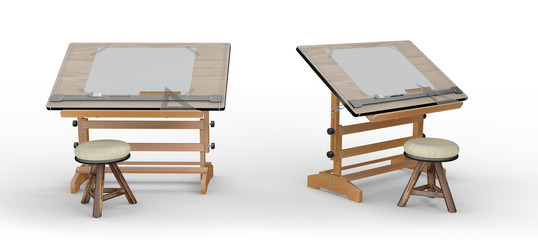 New wooden drawing table with tools and  stool , clipping path i