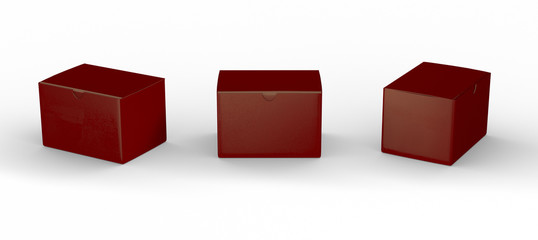 Red blank box packaging with clipping path