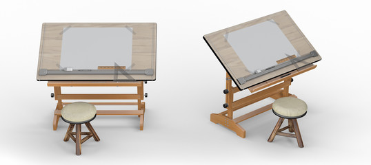 Wooden drawing table with tools and  stool , clipping path inclu