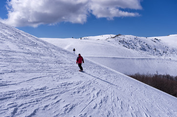 Snowy slope in 3-5 Pigadia ski center, Naoussa, Greece