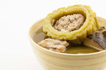 Stuffed bitter gourd with minced pork