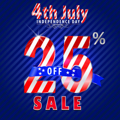 4th july Independence Day sale,25% off sale - vector eps10