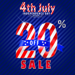 4th july Independence Day sale,20% off sale - vector eps10