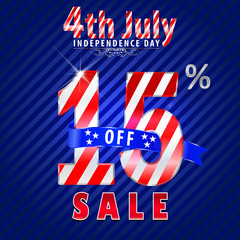 4th july Independence Day sale,15% off sale - vector eps10