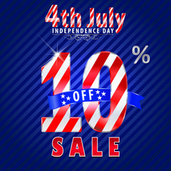 4th july Independence Day sale,10% off sale - vector eps10