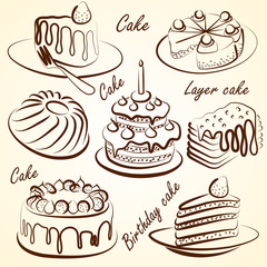 vector hand drawn cake and Doodles set on white
