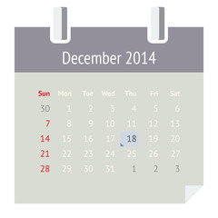 Flat calendar page for December 2014 (winter)