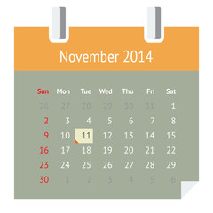 Flat calendar page for November 2014 (autumn)