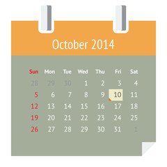 Flat design calendar page for October 2014 (autumn)