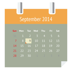 Flat metro design calendar page for September 2014 (autumn)