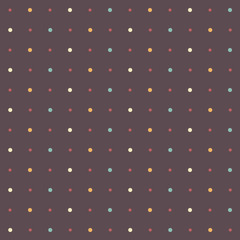Colorful seamless polka dot pattern on brown background
