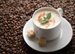 white coffee cup with mint and brown sugar