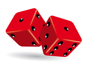 Rolling red dice vector illustration