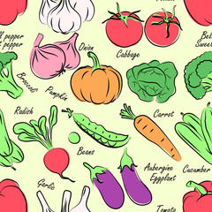 Vegetables seamless pattern background vector ,illustration