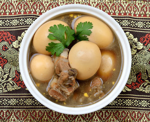 Boiled eggs stewed with pork