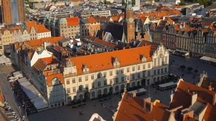 Aerial view of Wroclaw old town square, Poland.