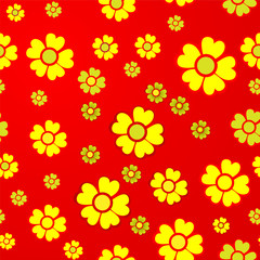 Yellow flowers on red background