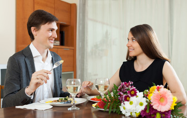 Loving couple romantic dinner